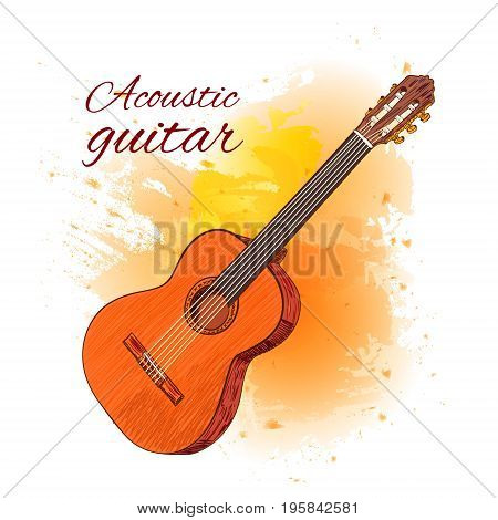 Acoustic guitar on yellow paint splash. Colored guitar. VECTOR illustration