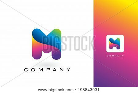 M Logo Letter With Rainbow Vibrant Beautiful Colors.m Colorful Trendy Letters Purple And Magenta Log