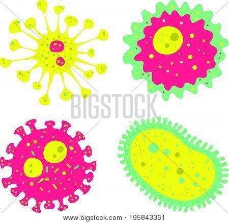 Vector Illustration Of Viruses Set