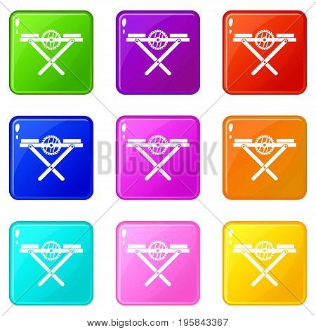 Power saw bench icons of 9 color set isolated vector illustration