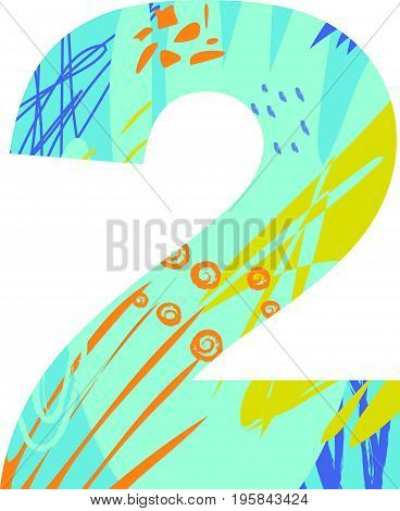 Vector illustration of a number two with abstract pattern. Birthday card.