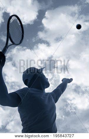 tennis player serving outdoor