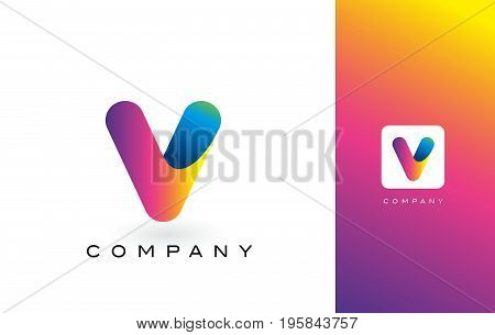 V Logo Letter With Rainbow Vibrant Colors.X Colorful Modern Trendy Purple and Magenta Letters Vector Illustration.