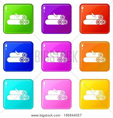 Wooden logs icons of 9 color set isolated vector illustration