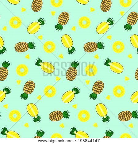 Bright color yellow full pineapple circles and pieces pineapples seamless pattern. Nice vector summer fruits texture on blue background for textile covers surface background wallpaper