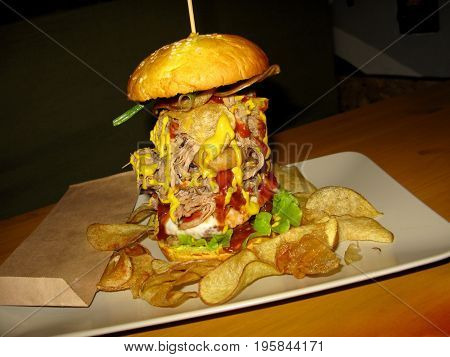 Fast food burger hamburger meat beef potato chips photo