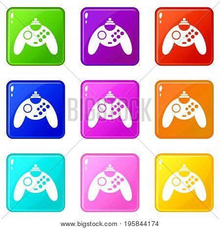 Gamepad icons of 9 color set isolated vector illustration