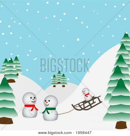 Snowmen Family Playing In The Forest