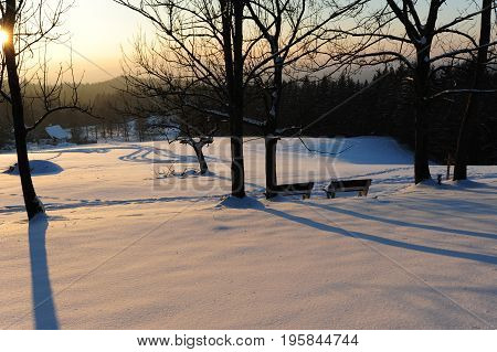 Winter panorama with two benches in the Czech Switzerland with snow and frost