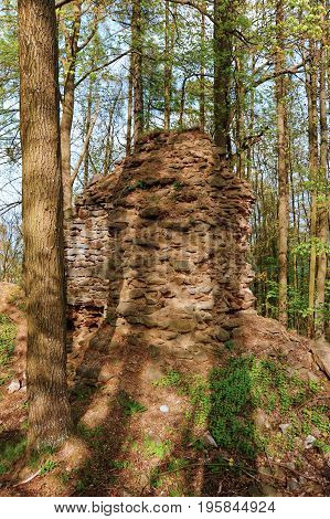 Old ruins of an unknown castle deep in the woods