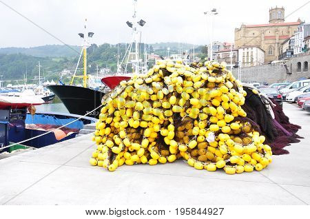 The fishing nets rest in the port of Getaria, Basque Country, Spain