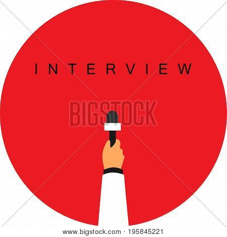 In hand microphone interview on a white background
