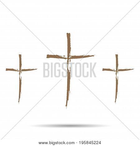 Three brown cross with shadow on a white background