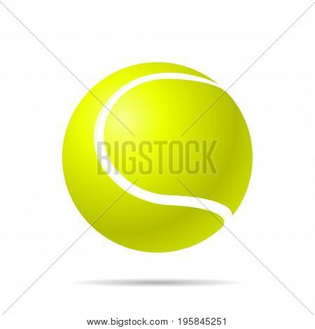 Realistic yellow tennis ball with shadow on a white background