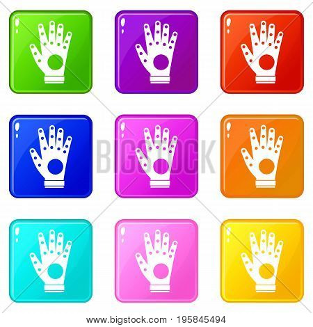 Electronic glove icons of 9 color set isolated vector illustration