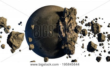 3D Rendering of asteroids next to a moon-like object with the clipping path included in the file.