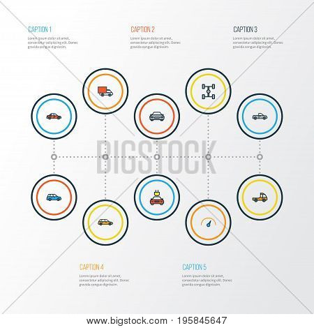 Automobile Colorful Outline Icons Set. Collection Of Electric, Machine, Speed And Other Elements