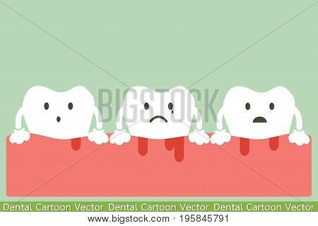 dental cartoon vector unhealthy teeth because gingivitis and bleeding poster