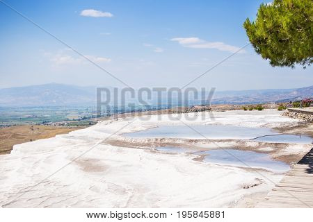 The travertines of Pamukkale in central Turkey are formed by calcium-rich mineral water.