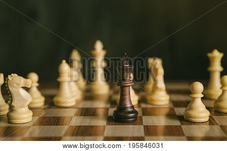 Chess Game The Only One Black King Fight With White Chess