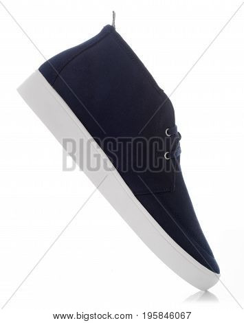 Blue fashion men's shoes with side view profile Isolated on white background Men's Fashion concept.