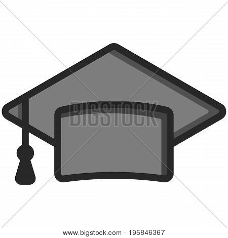 Simple Vector Icon of a classic graduate cap in flat style. Pixel perfect. Basic education element.  School theme. Back to college.