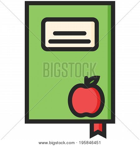 Simple Vector Icon of a book with an apple in flat style. Pixel perfect. Basic education element. School and office tool. Back to college.