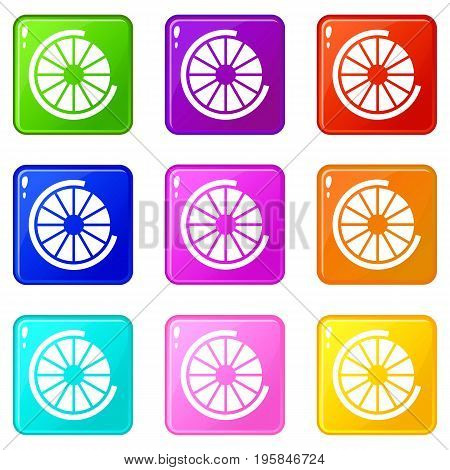 Sign incomplete download icons of 9 color set isolated vector illustration