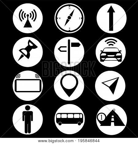 Black and white icons GPS on a black background