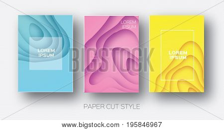 Paper Cut Wave Shapes. Layered curve Origami design for business presentations, flyers, posters. Set of 3 vertical banners. 3D abstract map carving. Text. Frame. Yellow, Pink, Blue. Vector illustration