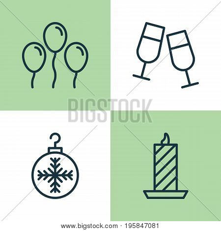 Christmas Icons Set. Collection Of Fire Wax, Champagne Glasses, Air Ball And Other Elements