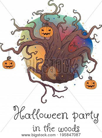 Vector illustration of a hand drawn old fairy tree with Halloween pumpkins. Halloween design element. Halloween party poster.