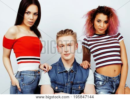 company of hipster guys, blonde boy and girls students having fun together friends, diverse fashion style and races, lifestyle people concept isolated on white background close up