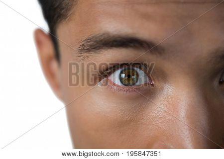 Cropped image of shocked businessman against white background
