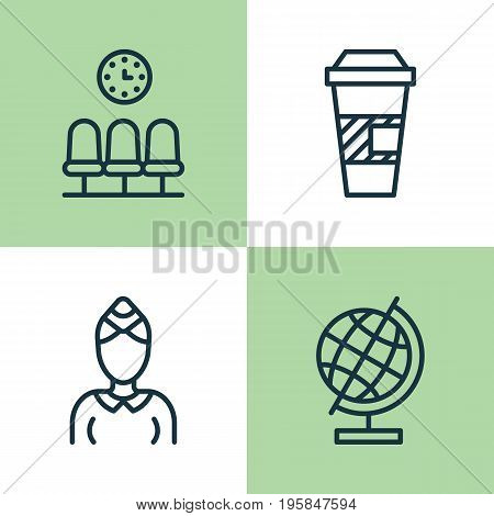 Airport Icons Set. Collection Of Seats, Takeaway Coffee, Hostess And Other Elements