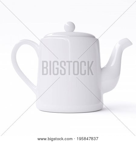 White ceramic teapot isolated on white background. 3d image