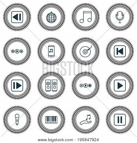 Audio Icons Set. Collection Of Gramophone, Note Donate, Following Music And Other Elements