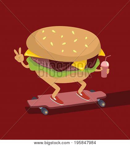 burger character Skating on longboard flat vector illustration