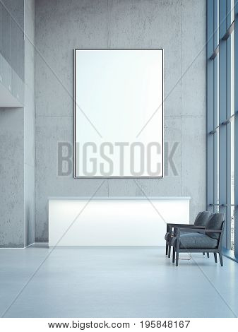 Office hall with reception and blank banner on wall. 3d rendering