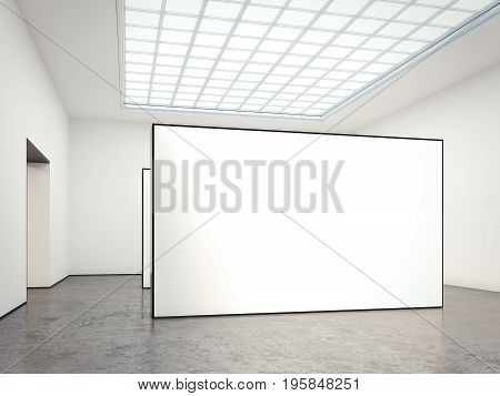 Museum gallery with blank white walls. 3d rendering