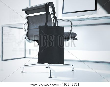Blank black bag hanging on a modern office chair. 3d rendering