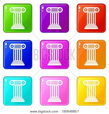 Roman column icons of 9 color set isolated vector illustration