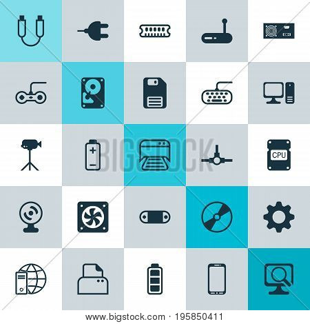 Computer Icons Set. Collection Of Computer Keypad, Camcorder, Network Structure And Other Elements