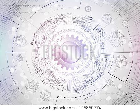 Radial circuit board. Hi-tech technology concept. Abstract circle engineering background. Digital innovation vector illustration.