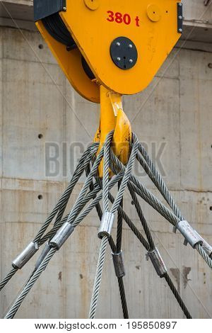 Factory overhead crane and yellow crane hook 380 t. and sling in factory