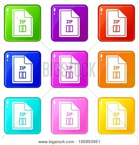File ZIP icons of 9 color set isolated vector illustration