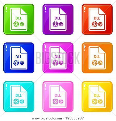 File DLL icons of 9 color set isolated vector illustration