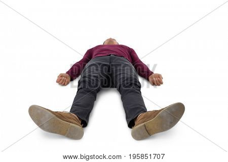 Full length of man lying down against white background