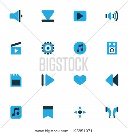 Multimedia Colorful Icons Set. Collection Of Multimedia, Megaphone, Bullhorn And Other Elements