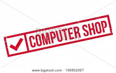 Computer Shop rubber stamp. Grunge design with dust scratches. Effects can be easily removed for a clean, crisp look. Color is easily changed.